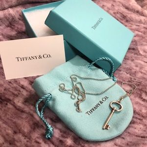 Sterling Silver Tiffany Key Charm and Necklace